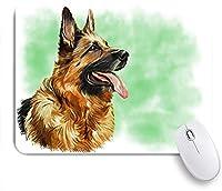 ECOMAOMI 可愛いマウスパッド 緑の背景にジャーマンシェパード犬の肖像画の油絵を描く 滑り止めゴムバッキングマウスパッドノートブックコンピュータマウスマット