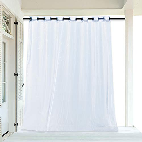 RYB HOME Sheer Curtain for Patio - Extra Wide Outdoor Curtain Water Repellent Filter Glare, White Voile Panels for Porch / Balcony / Gazebo, with 1 Rope Tieback, 100 x 96 inches