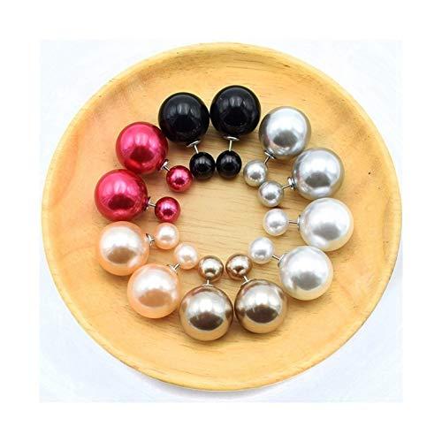 HLWJ Hundido 6 Pares/Color Mixto múltiple Pendientes de Perlas de Moda joyería for Mujer (Color : 6)