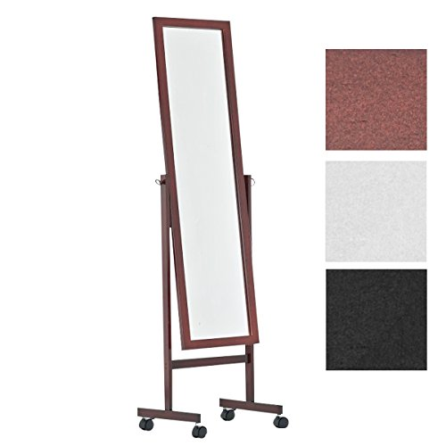 CLP Holz-Standspiegel Yolanda mit Laufrollen I Schlichter Garderobenspiegel aus lackiertem Holz I erhältlich Cherry