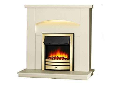 """Endeavour Fires New Cayton Electric 42""""Fireplace Suite, fitted with Brass Trim and Fret, 220/240Vac 1&2kW with 7 day Programmable Remote Control in off white MDF fireplace suite."""