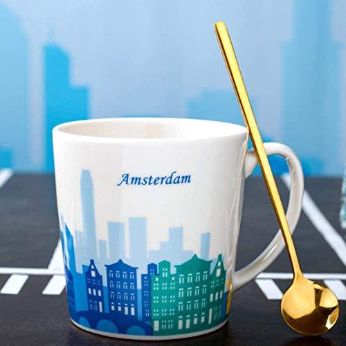 Taza de cerámica creativa de la ciudad de la personalidad masculina y femenina estudiante taza de café del hogar, taza de Beijing WYYHYPY (color: Amsterdam)