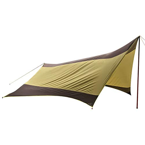 [ZAFIELD] ヘキサタープ 防水 タープ UVカット タープテント 天幕シェード 6~10人用 収納ケース付 (ブラウン)