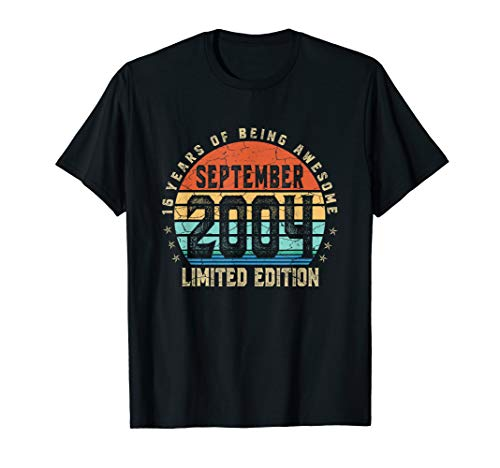 Vintage September 2004 Designs 16 Years Old 16Th Bday Gift T-Shirt