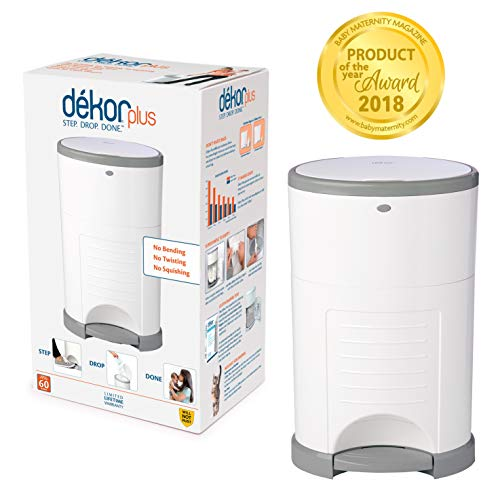 Dekor Plus Hands-Free Diaper Pail | White | Easiest to Use | Just Step – Drop – Done | Doesn't Absorb Odors | 20 Second Bag Change | Most Economical Refill System |Great for Cloth Diapers