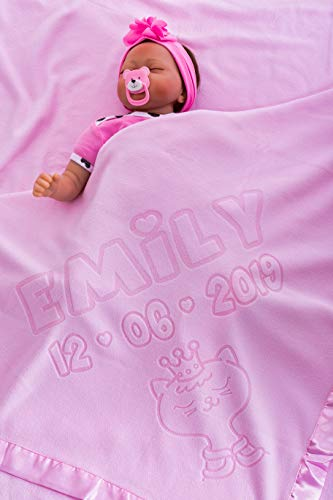 Manta Personalizada Para Bebé nombre fecha