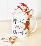 Personalized Gingerbread Hot Chocolate Mug for Kids, Gingerbread Hot Chocolate, Gingerbread Baking Party Favors, Winter Themed Party Favors, Gingerbread Man Cookies Mug