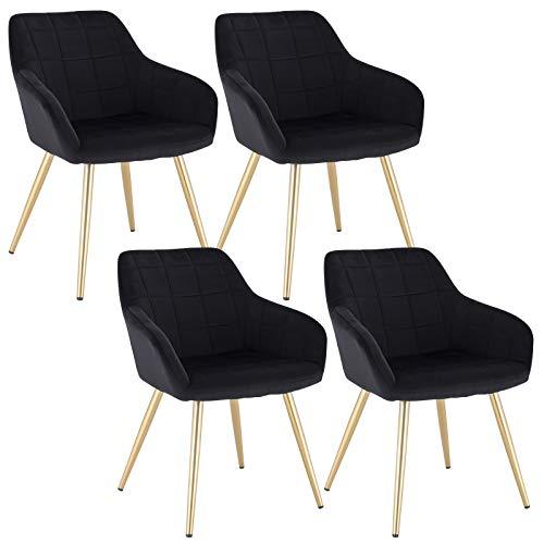 WOLTU 4 x Esszimmerstühle 4er Set Esszimmerstuhl Küchenstuhl Polsterstuhl Design Stuhl mit Armlehne, mit Sitzfläche aus Samt, Gestell aus Metall, Gold Beine, Schwarz, BH232sz-4
