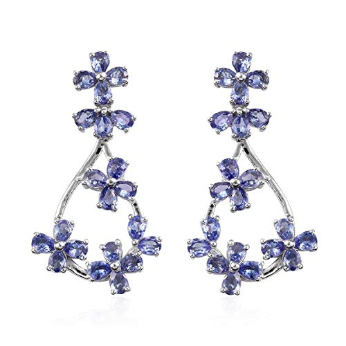 TJC Tanzanite Flower Earrings for Women Platinum Plated 925 Sterling Silver, 6 Ct