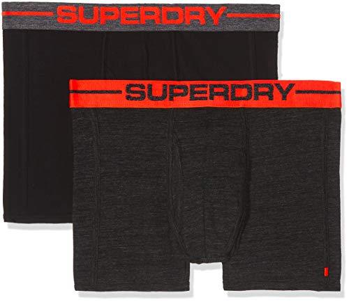 Superdry Herren Sport Boxer Double Pack Slip, Mehrfarbig (Charcoal Black Marl/Black Va8), Medium