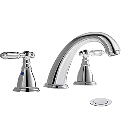 8 Inch 3 Hole Widespread Bathroom Faucet with Metal Pop Up Drain by PHIESTINA, Chrome Widespread Bathroom Sink Lavatory Faucet, WF008-4-C
