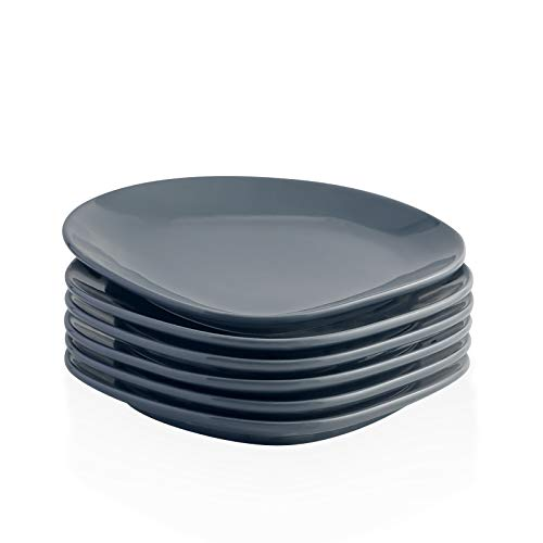Kanwone Porzellanteller – 27,7 cm – Set mit 6 grauen Tellern für Mikrowelle und Spülmaschine geeignet