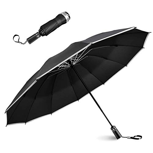 Lesoom Super Windproof Waterproof Small Reverse Folding Black Umbrella Mini Portable Compact Travel Umbrella Sun Umbrellas with Carrying Case Large Umbrella Surface for Women Girls Men Business Adults Boys Car