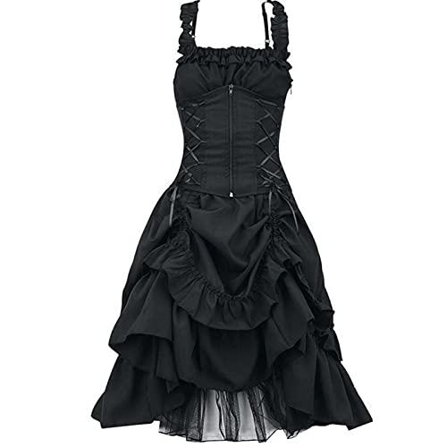 YZWC Damen Mittelalter Kleid Gebunden Taille Gothic ärmellos Retro Midi Kleid Renaissance Cosplay Kostüm Kleid Gothic Kleid Karneval Retro Party