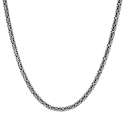 Silverly Men's Women's .925 Sterling Silver Oxidised 3.6 mm Balinese Byzantine Chain Necklace, 18'
