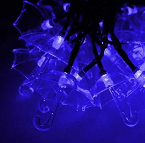 LED Solar String Lights Umbrella Shaped Lantern Outdoor Waterproof Decorative Lights Creative Light String Blue 5m 20 Lights