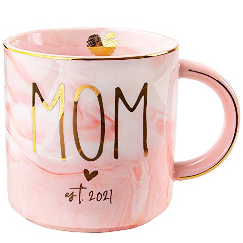VILIGHT New Mom Gifts for Women - Mom est 2021 - Trimester Gift for Expecting Mommy To Be - Congratulations for New Baby - Pink Marble Mug Ceramic Coffee Cup 11oz