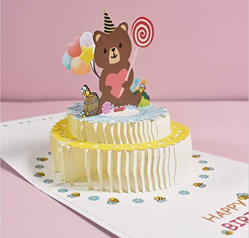 ANEWISH 3D Geburtstagskarte Dreidimensionale Geburtstagstorte Pop-Up-Karte mit Umschlägen (Bär Kuchen)