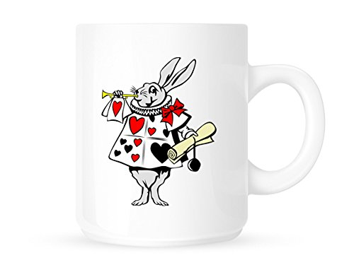 Alice In Wonderland-Hase mit Trompete Original Art Fun Neuheit Arbeitsplatz Büro-Kaffeebecher/Tasse, tolle Geschenkidee