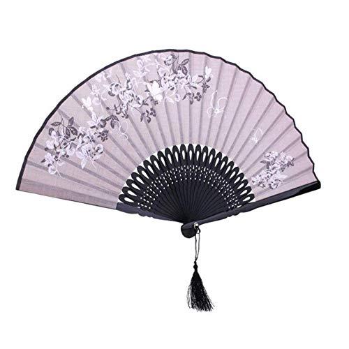 WCY Ventilador de Mano Fan Chino Fantástico Plegable Fan Leaf Flower Fan Fan Gray yqaae