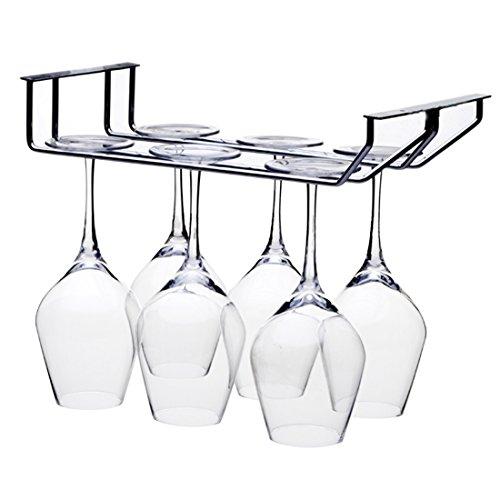 Vino Vetro Rack, Wolfbush 2 file in acciaio inox puntare in alto Holder bevande Wine Glass rack blocca vino rosso Bicchiere