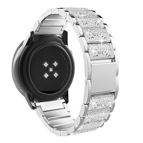 TiMOVO Armband Kompatibel mit Galaxy Watch 42mm/Gear S2 Classic/Galaxy Watch Active/Active 2 Forerunner 245/Vivoactive 3, Edelstahl Uhrenarmband Ersatzarmband Handgelenk Band Werkzeug - Silber