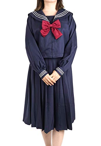 CoolChange Uniforme Escolar de Seifuku, Uniforme Escolar Japonesa, Vestido Azul Oscuro, Talla: L