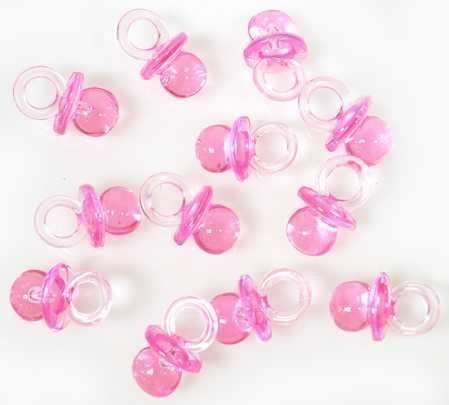 """Small Pink Acrylic Baby Pacifiers to Decorate Baby Shower Favors - 144 Pieces - Size: 1/2"""" X 3/4"""""""