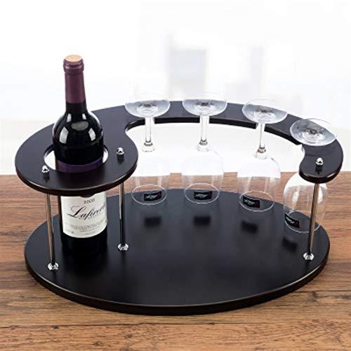 ZHPBHD Tonelador de Madera Tonelador de Vino Tanque de Almacenamiento 1 Botella Top Top de Vino Tanque de Almacenamiento 4 Copa de Vidrio para Colgar Tazas.47x28x19.5cm