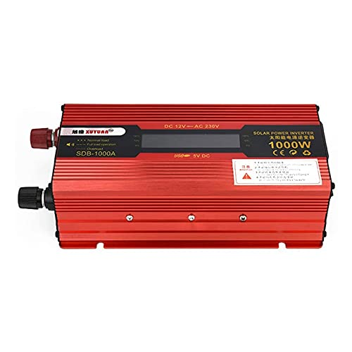 L-ROM Inversor de Coche, 12vto110v / 220v, 2000w, convertidor de Voltaje, convertidor con Pantalla, Apto para Coche, Caravana, Barco, Camping, Viajes,24v to 220v