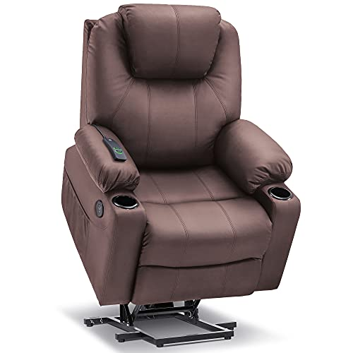 Mcombo Electric Power Lift Recliner Chair Sofa with Massage and Heat for Elderly, 3 Positions, 2 Side Pockets and Cup Holders, USB Ports, Faux Leather 7040 (Medium, Light Brown)