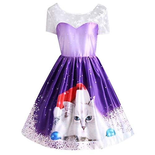 Vestido Vintage para Mujer, diseño de Copo de Nieve, Estampado de Gatos, Manga Corta, Patchwork, para Navidad, Informal, Fiesta, Elegante, Vestido de Noche Morado L