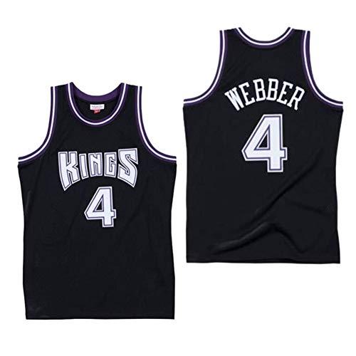 HQSG Baskball Jersey-Sacramento Kings 4# Chris Webber Camiseta de Baloncesto Retro Camiseta Bordada Fan Gym Cómodo Chaleco Ropa Deportiva Camiseta (XS-XXL)-Black-XL
