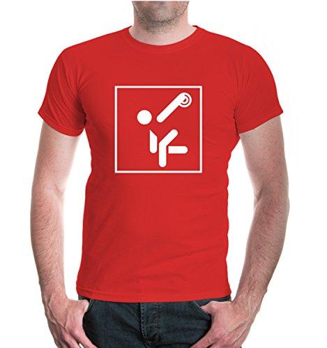 T-Shirt Diskuswerfen-Piktogramm-XXL-Red-White