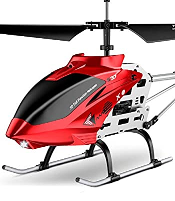 SYMA RC Helicopter, S37 Aircraft with Altitude Hold, 3 Channel, Sturdy Alloy Material, Gyro Stabilizer and High &Low Speed, Multi-Protection Drone for Kids Toys and Beginner to Play Indoor-Red by SYMA