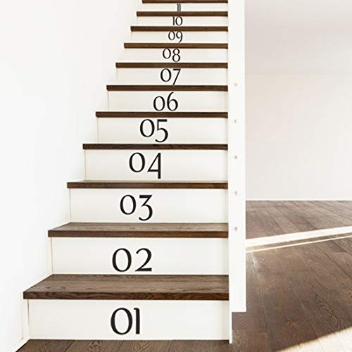 Vinyl Numbers Room Decor for Stairs, Stairway Number Stickers, Stair Riser Decals