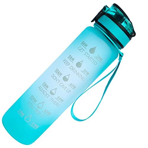 LIBAITIAN Reutilizable para Camping, Deporte, Gimnasio Taylor Botella De Agua,32 Oz Deportiva Botella De Agua, con Marcador De Tiempo Tritan PláStico Botella De Agua Bpa