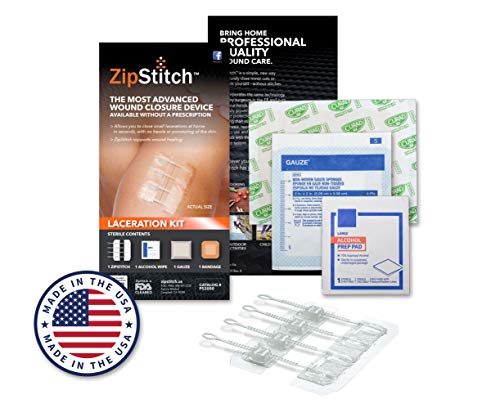 """ZipStitch Laceration Kit - Surgical Quality Wound Closure (Includes one Device for Wounds up to 1.5"""") for First Aid Kit, Car Kit, Outdoor/Survival Kit, Travel, Camping, Hunting, Hiking"""