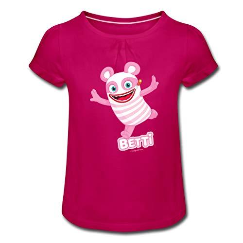 Sorgenfresser Betti Freut Sich Mädchen T-Shirt mit Raffungen, 4 Jahre, Fuchsia