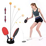 Table Tennis Trainer with Elastic Shaft Rebound Ball, Paddle Ball Seat or Darts, Ping Pong Training Toys Set...