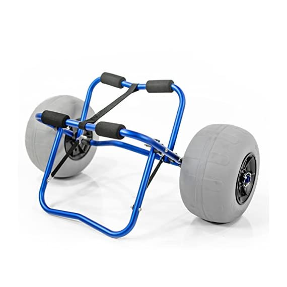 """Challenger outdoors kayak cart carrier dolly with large balloon tires heavy duty blue frame, pump and strap 1 detachable large low pressure 12"""" balloon tires what is included: manual heavy duty air pump & 12-ft cam buckle tie down strap carry your kayak, canoe and more, from your vehicle across the sand, loose gravel and mud"""