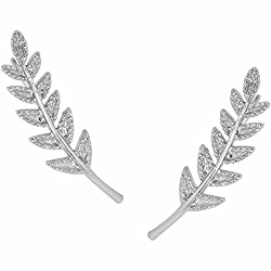 Rhodium-Plated Tiny Plated Branch Ear Climbers