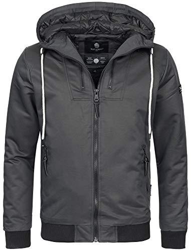 Navahoo Herren Winter Jacke sportliche Jacke wasserabweisend Winddicht B623 (Gr. L, Anthrazit)