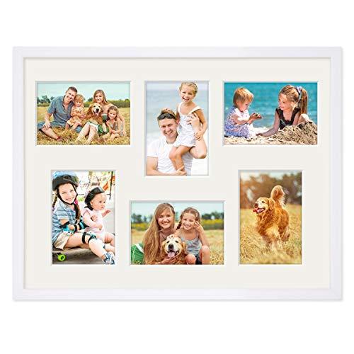 PHOTOLINI Fotocollage-Bilderrahmen 30x40 cm Modern Weiss MDF mit Acrylglas Collagerahmen Bildergalerie-Rahmen für 6 Bilder 9x13 cm Wechselrahmen mit Passepartout