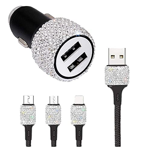 Cargadores de coche de cristal con doble USB Bling Bling hechos a mano para 1 m cable de carga rápida decoraciones de coche para iPhone, iPad Pro/Air 2/Mini, Samsung Galaxy Note 9 8 S9 S9+,LG, (???)