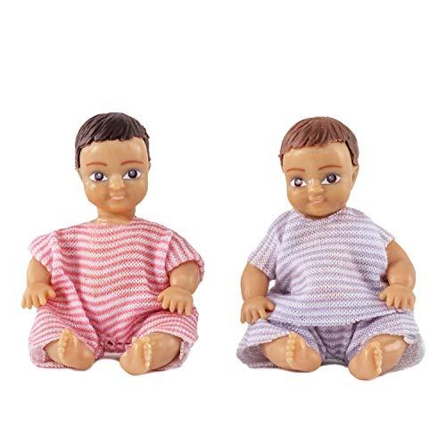 Lundby 60-806600 - Biegepuppen für Puppenhaus - Babys - 2-teilig - Puppenhauszubehör - Kunststoff-Puppen m. ausziehbarer Kleidung - Figuren, Säuglinge, Kinder - Zubehör - ab 3 Jahre - Minipuppen 1:18