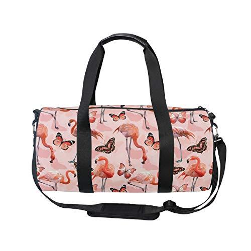 MNSRUU Flamingo-Schmetterlinge, große Reisetasche, unisex, hohe Kapazität, großes Gepäck, Sport, Turnbeutel