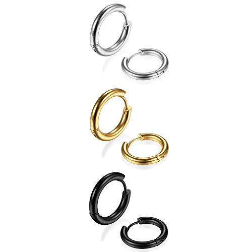 Orecchini unisex a cerchio 3 paia, 18mm, in acciaio inox, set di orecchini colori oro, nero, argento