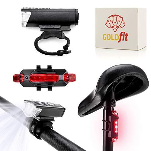 GOLDFIT Kit Luces de Bicicleta Trasera y Delantera, Luz Recargable USB. Accesorios de focos led Alta Potencia para Carretera y montaña. Linterna Impermeable con 3 Posiciones Intermitentes.