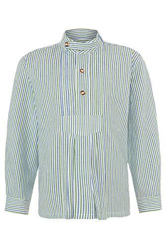Isar-Trachten Jungen Kinder Trachten-Stehbund-Schlupf-Hemd mit Pfoad gestreift blau grün, BLAU/GRÜN, 98